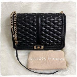 Rebecca Minkoff Quilted Jumbo Love Bag Black Gold